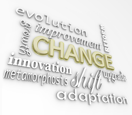 The word Change in gold 3D letters on a white wall with other words that symbolize changing in order to achieve success such as evolution, growth, innovation, metamorphosis, reform, improvement, upgrade, shift, and adaptation