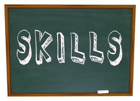 talents: Apprendre de nouvelles comp�tences Parole sur l'encouragement � prendre Chalkboard cours de formation pour vous am�liorer et r�ussir dans la vie Banque d'images
