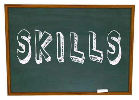 Learn New Skills Word on Chalkboard encouragement to take training course to improve yourself and succeed in life photo