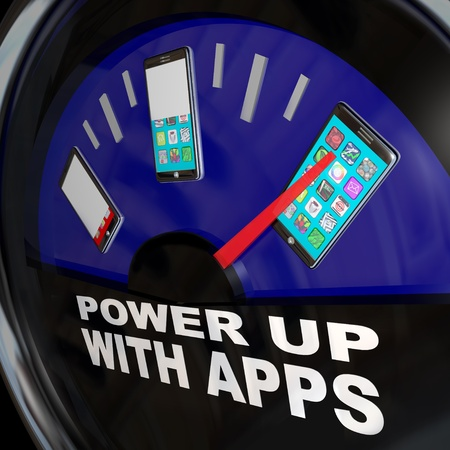 smartphone apps: A fuel gauge with needle pointing to a smart phone with a touch screen full of apps  Stock Photo