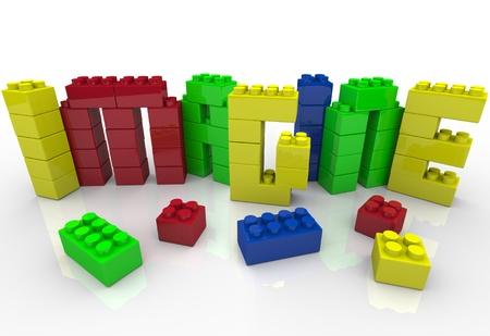 Het woord Imagine in gekleurde speelgoed plastic blokken die de creatief spel van een kind geniet met bouwstenen en het idee generatie van het gebruik van uw creativiteit