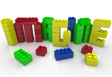 The word Imagine in colored toy plastic blocks representing the creative play a child enjoys with building blocks and the idea generation of using your creativity Stock Photo - 10739792
