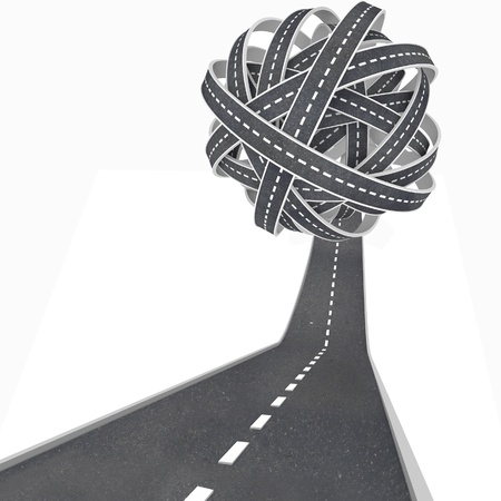 dangerous road: Confusing travel and transportation symbolized by an asphalt road rising upward into a tangled ball of pavement leading nowhere