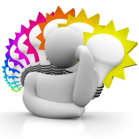 light bulbs: Una figura que plantea con cabezal por lado, perdido en el pensamiento, con un fondo de varios focos de luz coloridos simbolizando grandes ideas que est� so�ando hasta e inventar para resolver un problema o necesidad
