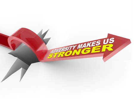An arrow jumps over a hole, with the words Adversity Makes Us Stronger on it, symbolizing the experience you get from conquering a problem Stock Photo - 10739794