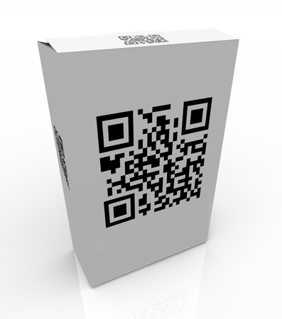 The QR Code on a product box allows you to scan the unique barcode and get special information on the product on your mobile smart phone or other device Stock Photo