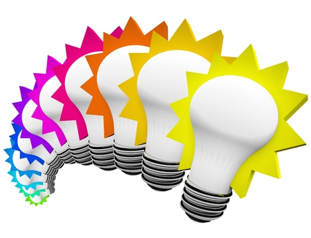 daydreaming: A display of colorful light bulbs in a rainbow of colors symbolizing creativity, innovation, and original thinking to solve a problem and overcome a problem Stock Photo