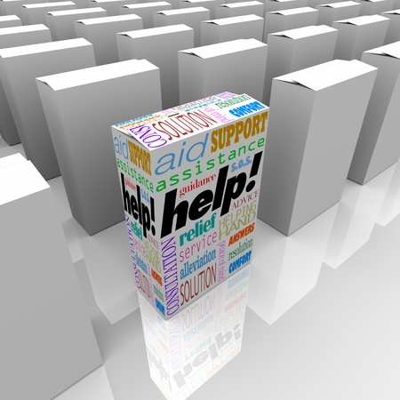 supporting: Many boxes on a store shelf, one with the word Help representing customer support, assistance, service, aid, consultation, solution, answers, resolution, comfort, relief, helping hand, advice, peace of mind, guidance, and s.o.s.