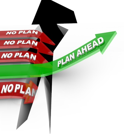 fail: Words Plan Ahead rising an upward arrow over a problem while  other arrows marked No Plan fall into the abyss symbolizing a disaster or emergency and the need to prepare and be ready Stock Photo