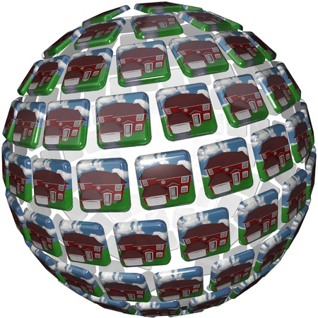 A sphere shape showing similar red homes with grass and blue skies symbolizing a peaceful society in a neighborhood such as suburbia Stock Photo - 10801931