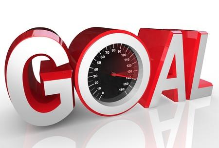 objetivo: La palabra objetivo incluye un velocímetro con aguja racing al máximo para simbolizar la realización exitosa de alcanzar un objetivo o completar una misión Foto de archivo