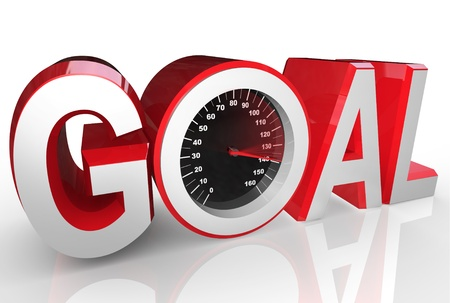 event planning: The word Goal includes a speedometer with needle racing to the max to symbolize the successful accomplishment of achieving an objective or completing a mission