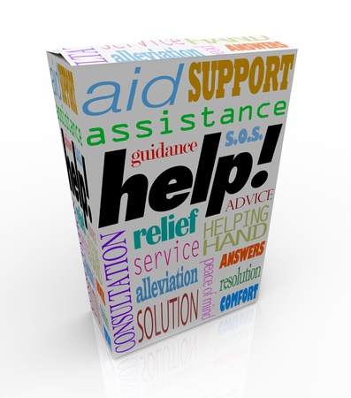 consultants: The word Help and many others representing customer support -- assistance, relief, service, consultation, solution, peace of mind, assistance, guidance, resolution, answers, comfort, advice, and more -- on a white product box