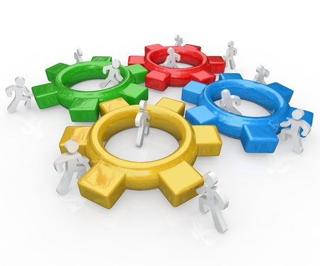 A team of illustrated people work together to push several colored gears into a functioning machine to symbolize the synergy and partnership necessary to achieve a major goal Stockfoto