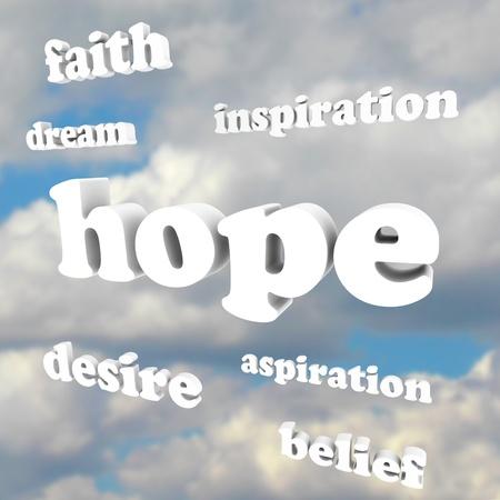 희망, 믿음, 신념, 열망, 영감, 꿈과 인생에서 성공을 달성하기 위해 필요한 양성과 좋은 태도의 다른 감정을 나타내는 하늘에 여러 단어 스톡 콘텐츠