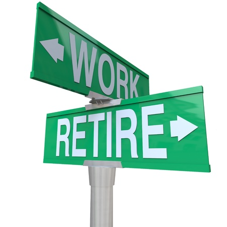 retirement age: A green two-way street sign pointing to Retire or Work, representing the decision an aging worker must make between staying in the workforce or entering retirement