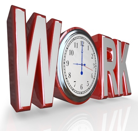 employ: The word Work with a clock in the letter O, illustrating that it is time to get working at your job and career in order to succeed Stock Photo