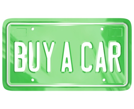 A green metal license plate with the words Buy a Car symbolizing shopping for a new or used automobile or other vehicle Stock Photo - 10882390