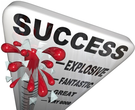 Success Thermometer measures your progress to the successful completion of your goal, with the words Explosive, Fantastic, Great and Very Good as levels Stock Photo - 10913344