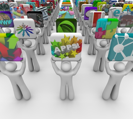 mobile application: Many application developers present their apps for sale in a marketplace built for mobile phones, tablet computers and other devices to buy and download software Stock Photo