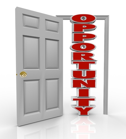 A white door opens to reveal the word Opportunity to illustrate the new chance you have to succeed in life through your job, career, education, lifestyle, relationship, travel or other aspects photo
