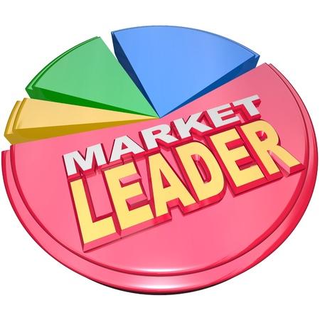 diagrama circular: La mayor porci�n de un gr�fico circular 3D con las palabras del l�der de mercado para significar la compa��a, empresa u organizaci�n que ha disfrutado de m�s �xito y se gan� un papel dominante en su industria o campo Foto de archivo