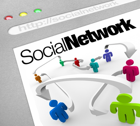 A web browser window shows a social network of people connected by arrows represented on a web screen illustrating a networking site on the internet photo