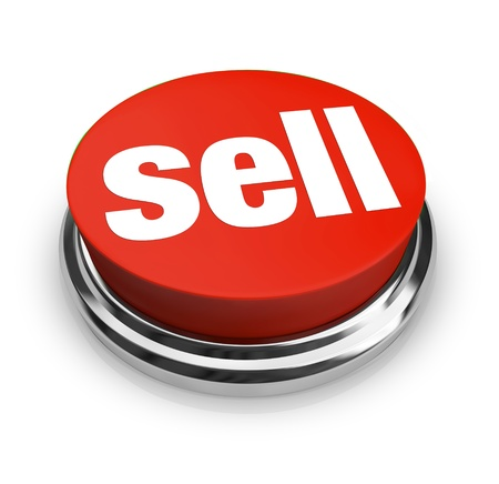 A red button with the word Sell on it, representing how easy it can be to start a business and offer goods or services for sale to customers Stock Photo - 10978048