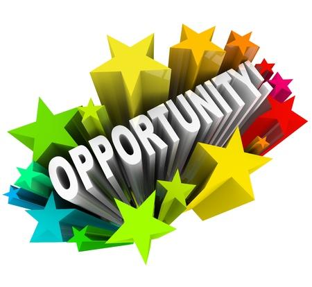 Das Wort Gelegenheit ergibt in 3D aus einem geplatzten der bunten Sterne, was eine spannende Chance für einen Wandel und die Möglichkeit und das Potenzial für Erfolg und Wachstum
