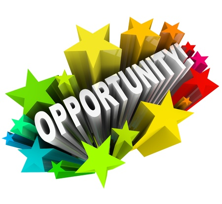job opportunity: The word Opportunity arises in 3D from a burst of colorful stars, representing an exciting chance for change and possibility and potential for success and growth