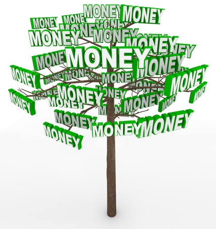 earn money: Get rich by picking money off tree branches  Stock Photo