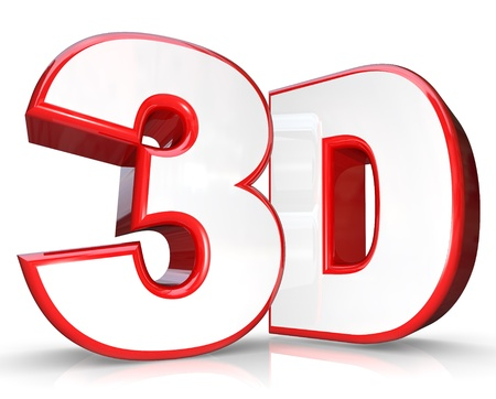 3d dimensional: The abbreviation 3D in three dimensional letter and number on a white background representing new technology for viewing movies and television programming that comes out of the screen at you