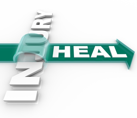 revive: The word Heal on an arrow jumping over the word Injury illustrating the recuperation and renewal of engaging in therapy in a health care or faith based situation Stock Photo