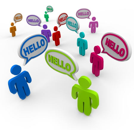greet: Many people of different colors representing various cultures speaking and greeting each other saying hello in speech clouds or bubbles