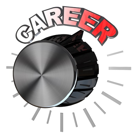 A metaphoric black knob or dial turned with the word Career to the highest level or position in your job and achieving success Stock Photo - 11107566