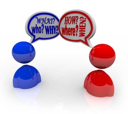 what: Two people talking, with both asking the questions in speech bubbles - who, what, where, when how and why
