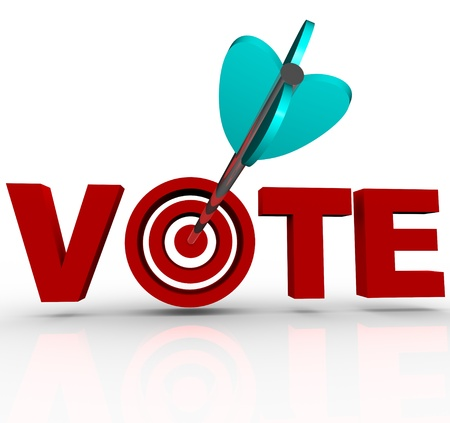 vote: The word Vote in 3D red letters with an arrow shot into the bulls-eye in the letter O, illustrating how politicians target voters during a political campaign