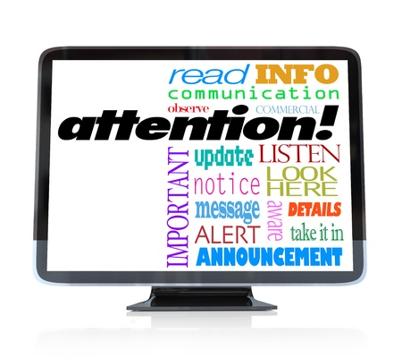 high definition television: A high definition television with the word attention and many other words related to communication and a special televised announcement: info, update, alert, commercial, message, notice and more