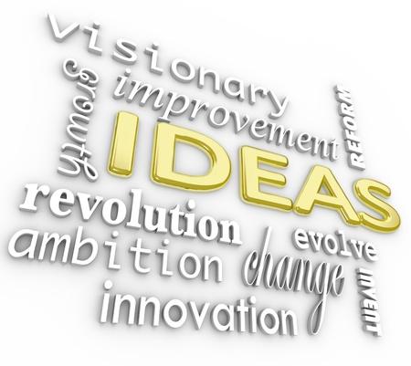 야망, 혁명, 비전, 변화, 개선, 성장, 개혁 등을 포함한 - 아이디어와 혁신에 관련된 3D 단어의 배경 스톡 콘텐츠