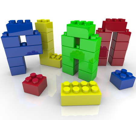 plotting: The word Plan built from colorful building blocks representing the importance of creating a successful strategy to achieve your goals Stock Photo