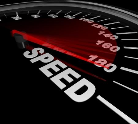 speedometer: Un tachimetro con la lancetta rossa che punta alla Race parola che rappresenta l'importanza di accelerare fino a essere pi� veloce e pi� veloce per vincere la gara Archivio Fotografico