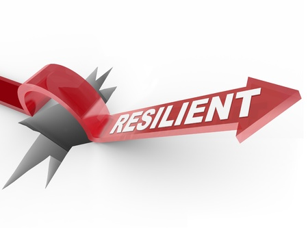 An arrow jumps over a hole, with the word Resilient to illustrate a winning attitude and determined approach to conquering a problem Stock Photo - 11420517