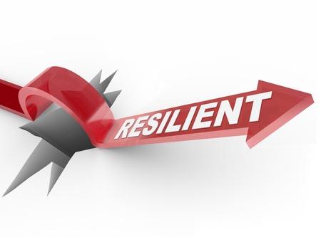 Een pijl springt over een gat, met het woord Resilient te illustreren een winnende houding en doelgerichte aanpak voor het veroveren van een probleem Stockfoto