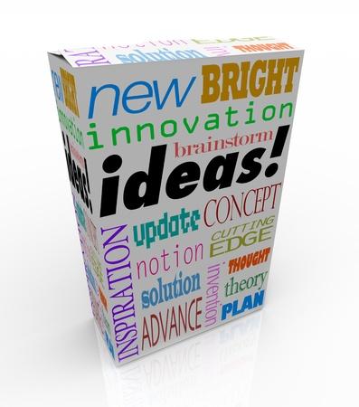 product box: Le idee parola su una confezione del prodotto si pu� acquistare in un negozio per l'ispirazione istantanea, innovazione, idee, scambi di idee, invenzioni e progetti