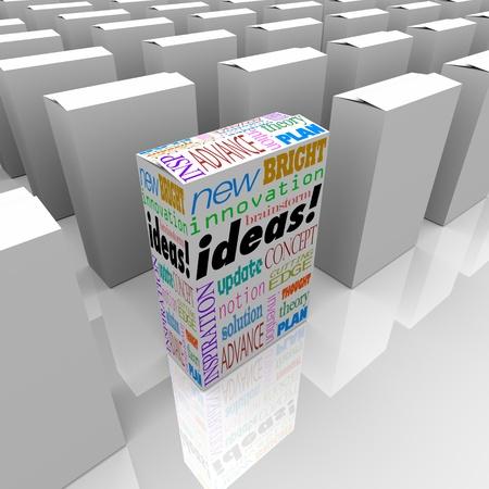 상점의 선반에 많은 상자, 단어의 아이디어 하나는 나머지에서 밖으로 서 새로운 아이디어와 혁신을위한 최고의 기회를 제공합니다