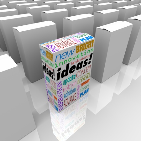 product box: Many boxes on a store shelf, one with the word Ideas stands out from the rest and offers the best opportunity for new ideas and innovation Stock Photo
