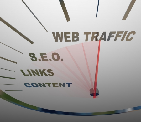 website traffic: A speedometer with needle racing past the necessary elements in a web traffic growth strategy, from content to links to S.E.O. to increased onilne readership Stock Photo