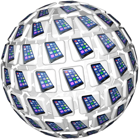 linking: A sphere of application app tiles showing smart cell phones connected and linked in a communication network