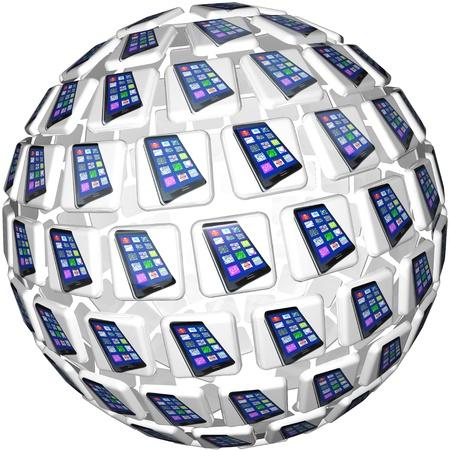 mobiele telefoons: Een toepassingsgebied app tegels met slimme mobiele telefoons aangesloten en gekoppeld in een communicatienetwerk