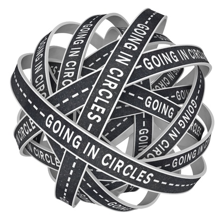 monotony: The words Going in Circles on black asphalt paved roads in endless circular patterns in a ball of confusion